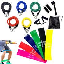 Faixas Elástica Mini Band Pilates Yoga 6 Unidades + Kit Elásticos Extensores Funcional Com 11 Pcs - Katatop
