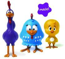 Familia galinha pintadinha em vinil macio 3-bonecos elka -