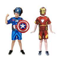 Fantasia Capitão America e Homem De Ferro + Escudo E Mascaras - Herois e Heroinas