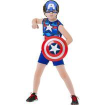 Fantasia Capitão América Infantil Clássica Curta Com Escudo e Máscara - Global Fantasias
