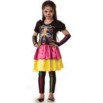 23a507894d1a1c Fantasia de Caveira Mexicana Esqueleto infantil Feminino Halloween -  Fantasias carol fsp