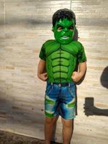 Fantasia do Hulk Curta Com Enchimento e Mascara - Griffe Representação