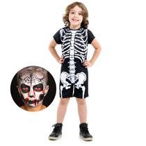 Fantasia Esqueleto Macacão curto com Maquiagem - Halloween -