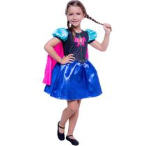 Fantasia Frozen Infantil Vestido Anna Pop Com Capa - Global Fantasias