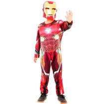 Fantasia Homem de Ferro Luxo Infantil Guerra Infinita com Máscara e Músculos - Rubies