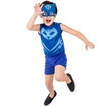 Fantasia Menino Gato Infantil Original Pj Masks Curto Com Máscara Soft - Global Fantasias