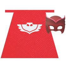 Fantasia Pj Masks Infantil Kit com Capa e Máscara Corujita - Fantasias Carol PI