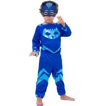 Fantasia PJ Masks Menino Gato Connor Infantil Longa Com Máscara Disney - Global Fantasias