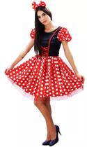 Fantasia preto e vermelha adulto com tiara e laço cosplay p - partylight