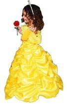 Fantasia princesa bela luxo armado com luva e tiara infantil p4 - PARTYLIGHT