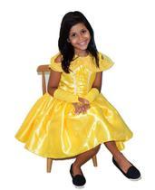 Fantasia princesa bela verão curto com luva infantil p - PARTYLIGHT