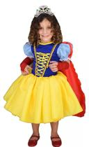 Fantasia princesa branca de neve infantil cute com luva e capa pp - PARTYLIGHT