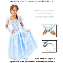 Fantasia Vestido Infantil Princesa Elsa Frozen com Luvas e Coroa - Anjo Fantasias