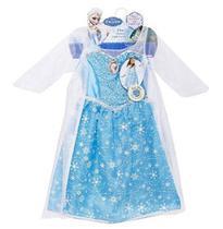 Fantasia Vestido Princesa Elsa Musical Frozen Som E Luz com Capa - Regina