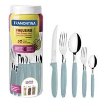 Faqueiro Tramontina 23398288 Ipanema Aço Inox 30 Peças Azul Claro -