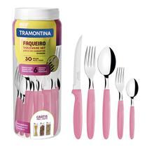 Faqueiro Tramontina Ipanema em Inox Rosa com Pote Plástico 30 Peças -