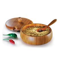 Farinheira Madeira De Bambu Com Tampa E Colher 400ml Welf -