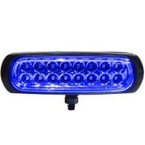 Farol Auxiliar avulso LED Azul Autopoli Retangular Capa preta 12V / 24V -