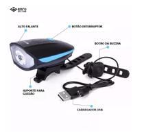 Farol Bike com Buzina Recarregavel USB 250Lumens - Bing