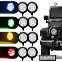 Farol de Milha Auxiliar Redondo 3 em 1 LED Slim Universal 6 LEDs 12V 24V 6W Todas as Cores Autopoli -