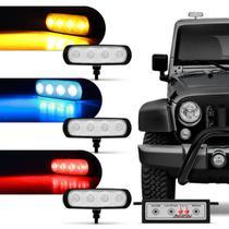 Farol de Milha Auxiliar Retangular 3 em 1 LED Slim Universal 4 LEDs 12V 4W Todas as Cores Autopoli -