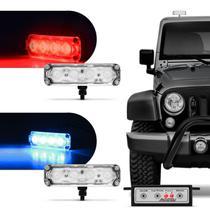 Farol de Milha Auxiliar Retangular 3 em 1 Power LED 4 LEDs 12V 4W Farol Azul e Vermelho Autopoli -