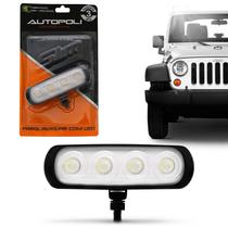 Farol de Milha Auxiliar Retangular LED New Slim Universal 4 LEDs 12V 24V 4W Luz Branca Autopoli -