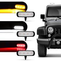 Farol de Milha Auxiliar Retangular LED New Slim Universal 4 LEDs 12V 24V 4W Todas as Cores Autopoli -