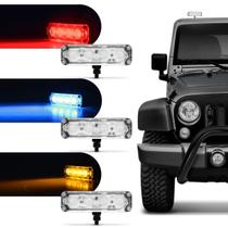 Farol de Milha Auxiliar Retangular Power LED Slim Universal 4 LEDs 12V 4W Todas as Cores Autopoli -