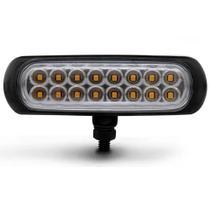 Farol de Milha Auxiliar Retangular Slim Universal 16 LEDs 12V 24V 3,2W Âmbar Autopoli -