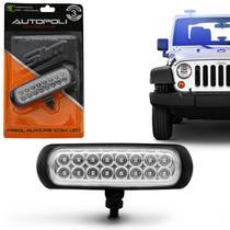 Farol de Milha Auxiliar Retangular Slim Universal 16 LEDs 12V 24V 3,2W Azul Autopoli -