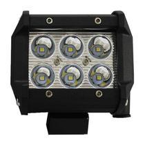 Farol de Milha LED 18W 6000K 12V/24V Bivolt 9 LEDs Quadrado Universal - Tiger -
