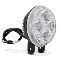 Farol De Milha Moto LED Universal Auxiliar De Neblina 40W 12V Redondo Preto 4 LED Lente Cristal -