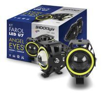Farol de Milha Moto O Par Com Interruptor Universal Angel Eyes Led Auxiliar Neblina (ZE-0050) - Shocklight