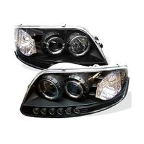 Farol Ford F150 1997 a 2003 Projector Angel Eyes Led Máscara Negra - Sonar
