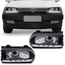 Farol Gol Parati G2 1996 a 2000 Saveiro 1998 a 2000 Máscara Negra 4 LEDs Daylight Encaixe Cibié - Rcd