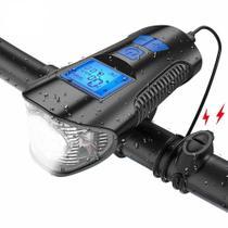 Farol Lanterna Bike Buzina Velocimetro Recarregável - Zem