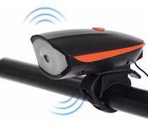 Farol Lanterna Bike Led Recarregável Usb C/ Buzina - Uni