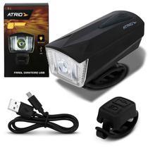 Farol para Bicicleta Atrio 190 Lúmens LED Recarregável 5 Estágios de Luz com USB Buzina e Controle -