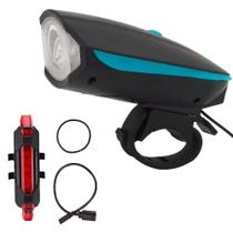 Farol Para Bicicleta Bike Com Buzina + Lanterna Sinalizador Traseiro - Best