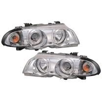 Farol Sonar Angel Eyes Led BMW E46 323i 325i 328i 330i 1999 a 2001 Cromado