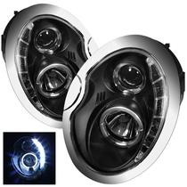 Farol Sonar Angel Eyes Led Bmw Mini Cooper 2001 a 2006  Máscara Negra