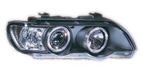 Farol Sonar Angel Eyes Led BMW X5 E53 1998 a 2003 Máscara Negra