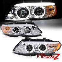 Farol Sonar Angel Eyes Led BMW X5 E53 2004 a 2006 Cromado