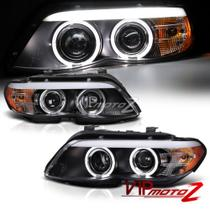 Farol Sonar Angel Eyes Led BMW X5 E53 2004 a 2006 Máscara Negra