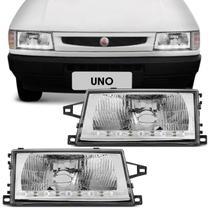 Farol Uno Fiorino 1991 a 2003 Máscara Cromada Foco Simples 4 LEDs Daylight - Rcd