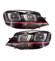 87372cb22 Farol Volkswagen Golf 7 Gti 2013 a 2017 DRL Barra Led UU Máscara Negra -  Sonar