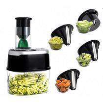 Fatiador espiral para macarrao de legumes e vegetais eletrico bivolt automatico 4 em 1 cortador ralador spiralizer - MAKEDA