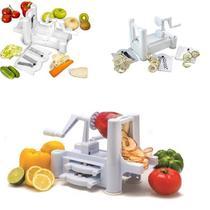 Fatiador espiral spiralizer com 3 laminas cortador ralador macarrao de legumes vegetais mesa e banca - Makeda