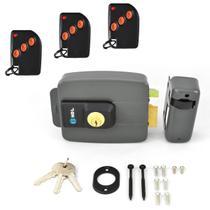 Fechadura Eletrônica HDL Aciona por Controle Remoto Kit Completo Com 3 Controles Receptor Fonte 12V -